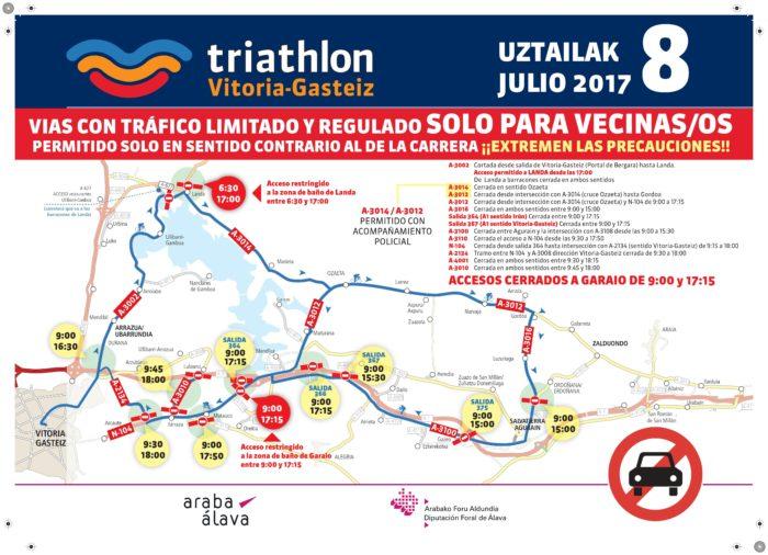 Mapa de cortes de tráfico triathlon 2018